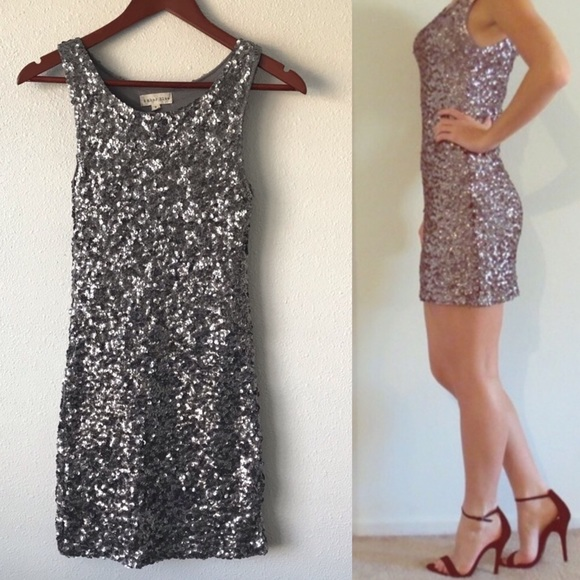 Dresses & Skirts - Amber blue silver sequin mini dress special grey